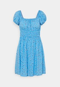 FRANKIE PUFF SLEEVE SHIRRED FIT AND FLARE - Day dress - riddle ditsy collegiate blue