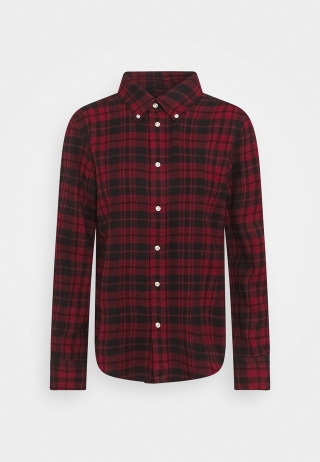 BRUSHED  - Button-down blouse - black/red
