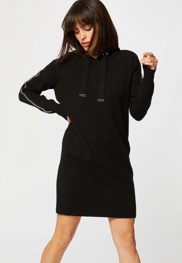 STRAIGHT HOODED  - Robe pull - black