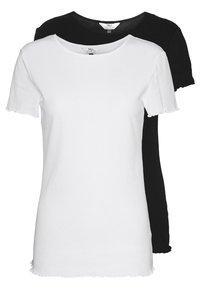 Dorothy Perkins Tall - LETTUCE EDGE TEE 2 PACK  - Basic T-shirt - black/white - 0