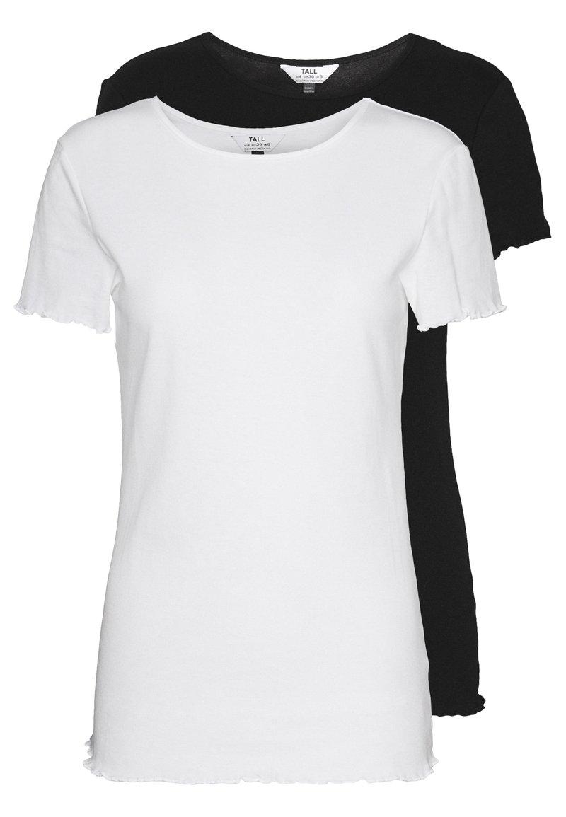 Dorothy Perkins Tall - LETTUCE EDGE TEE 2 PACK  - Basic T-shirt - black/white