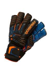 Reusch - ATTRAKT G3 FUSION ORTHO-TEC GOALIATOR - Goalkeeping gloves - black / shocking orange / deep blue - 0