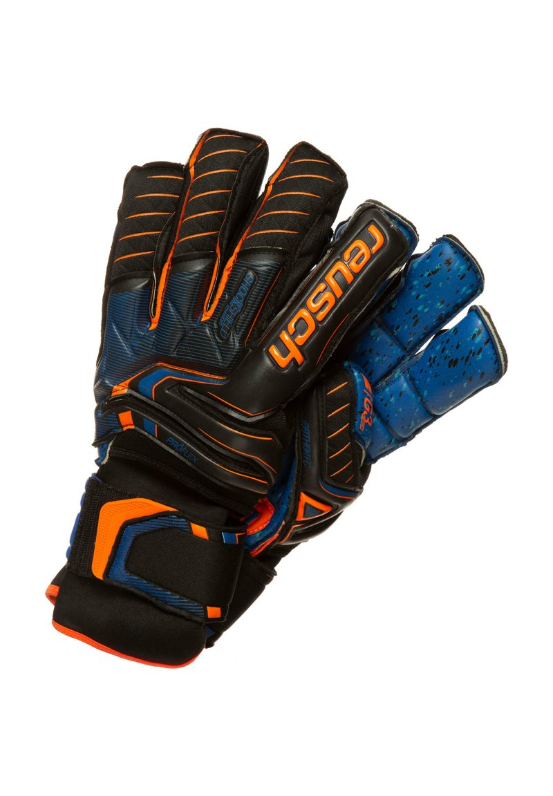 Reusch - ATTRAKT G3 FUSION ORTHO-TEC GOALIATOR - Goalkeeping gloves - black / shocking orange / deep blue