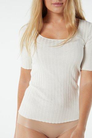 FIGURBETONTES HALBARMSHIRT AUS BAUMWOLLE/SEIDE - Print T-shirt - talco
