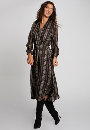 MIDI A-LINE WITH CHAIN PRINT - Day dress - black