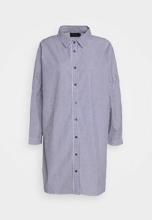 DRESS - Shirt dress - white/navy