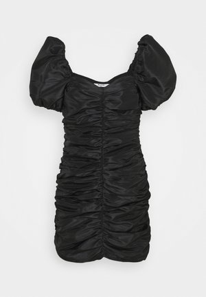 PUFFY SLEEVE DRAPED MINI DRESS - Koktejlové šaty / šaty na párty - black