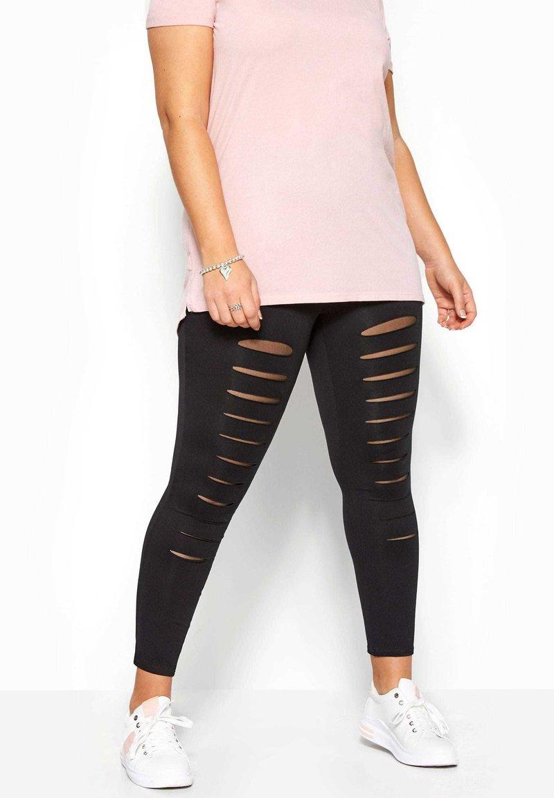 Yours Clothing - BLACK RIPPED MESH INSERT - Leggings - Trousers - black