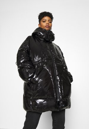 LONG PUFFER WITH HOOD - Cappotto invernale - black
