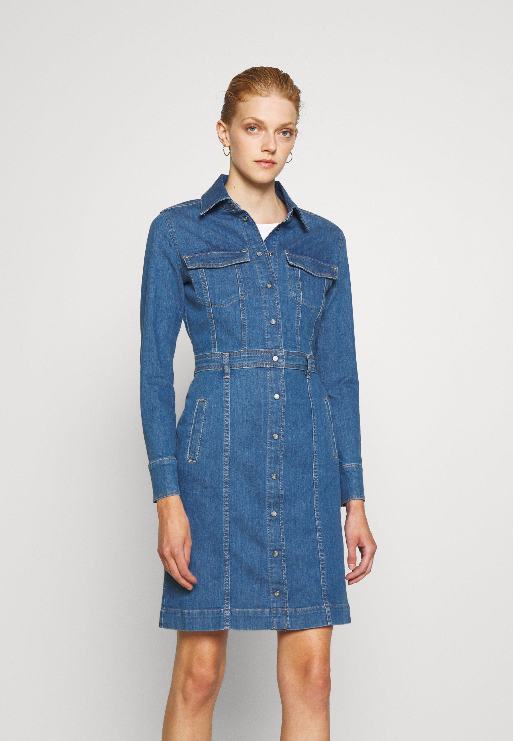 Women LUXE DRESS WATERFALL - Denim dress