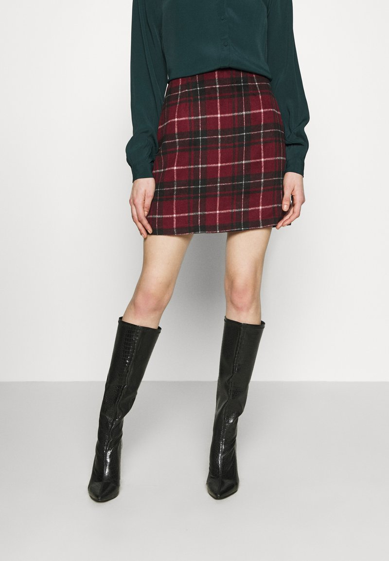 New Look - DUDLEY BRUSHED CHECK MINI - A-line skirt - multi