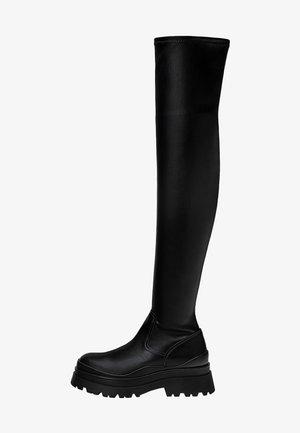 FLACHE MIT PROFIL - Kozačky nad kolena - black