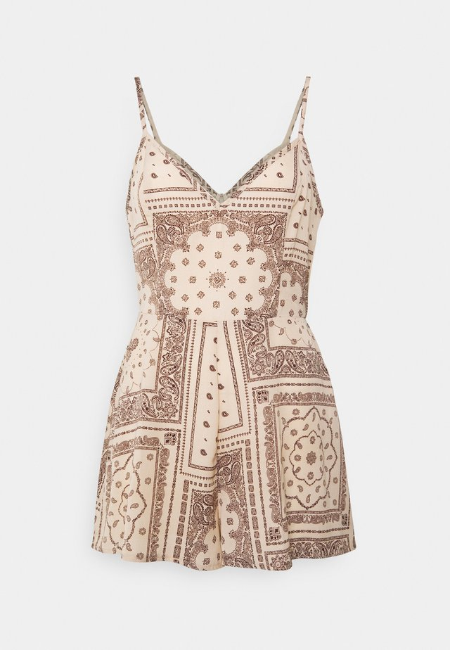 SCARF PRINT CAMI PLAYSUIT - Overal - stone