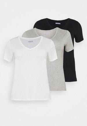 3 PACK - Basic T-shirt - black /white/light grey
