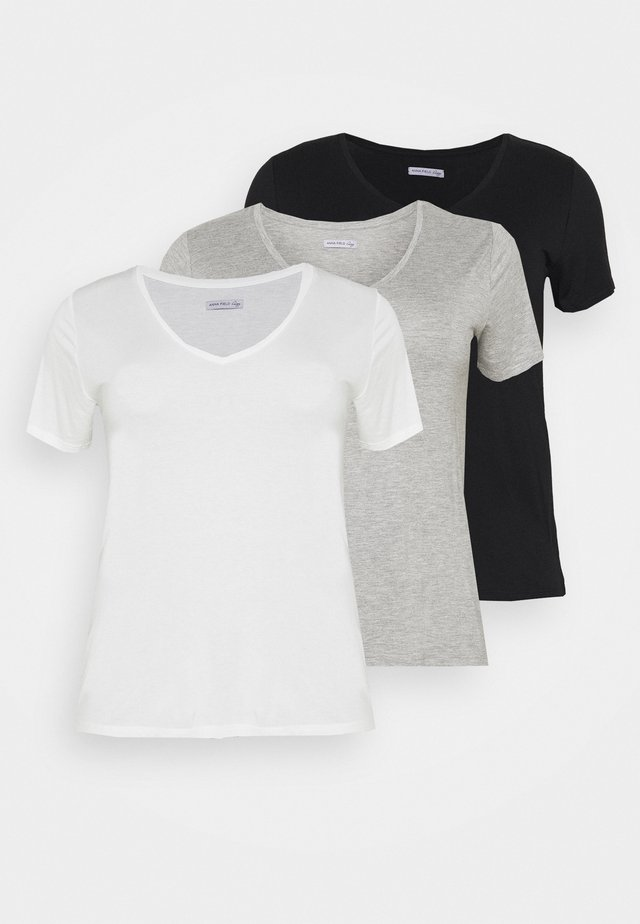 3 PACK - T-shirts basic - black /white/light grey