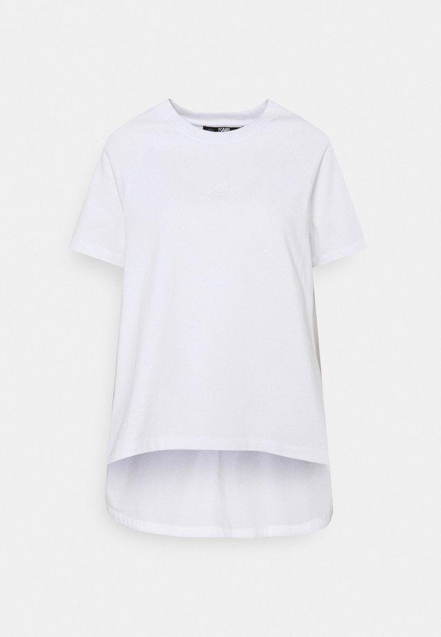 FABRIC MIX LOGO - Basic T-shirt - white
