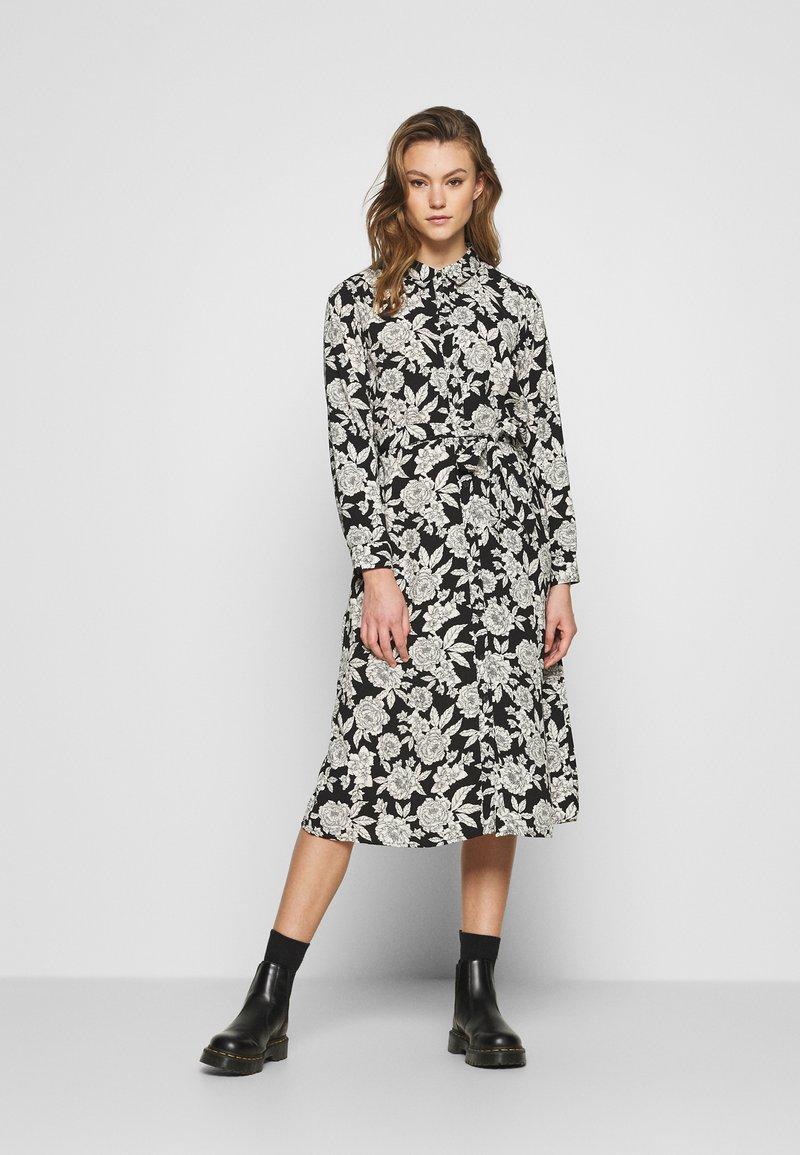 JDY - BARCELONA  - Košilové šaty - black/white