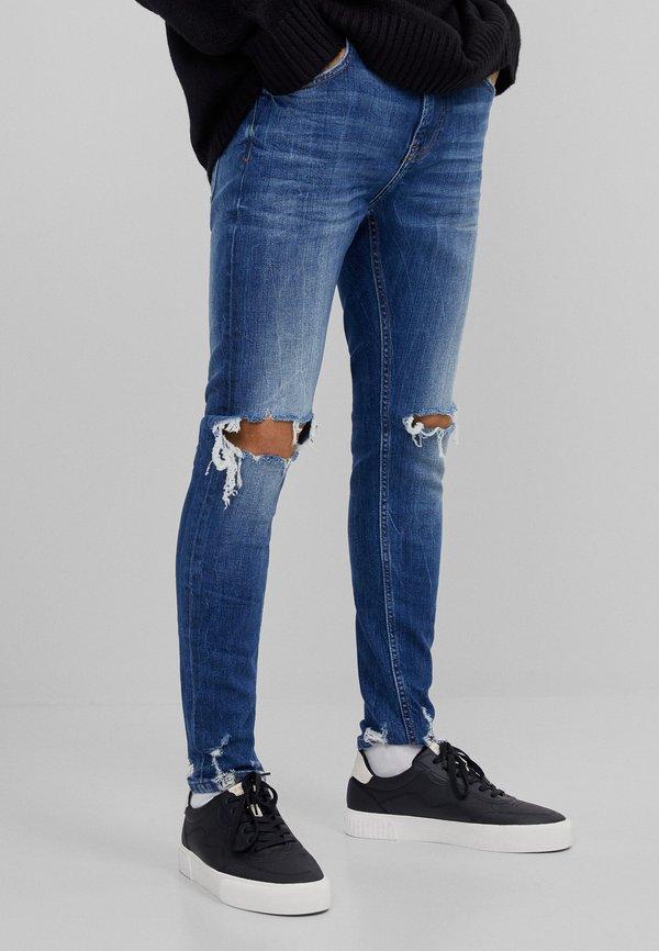 Bershka MIT RISSEN - Jeansy Slim Fit - dark blue/granatowy Odzież Męska NAGJ