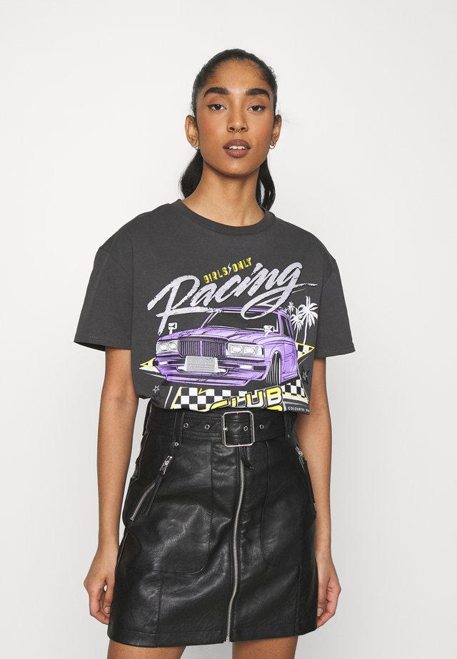 RACE CLUB LOOSE FIT TEE - Print T-shirt - black