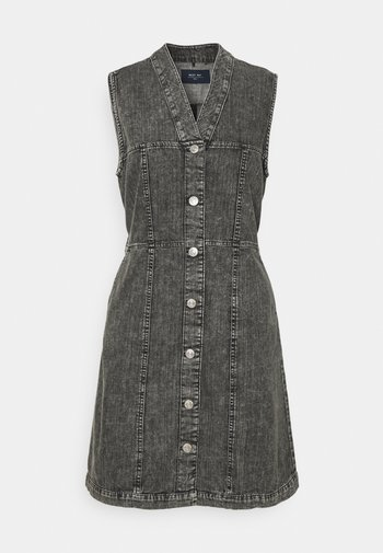 NMVERITA V NECK DRESS - Denim dress - black