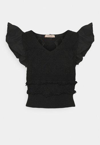 MAGLIA  SCOLLO V  - Print T-shirt - nero
