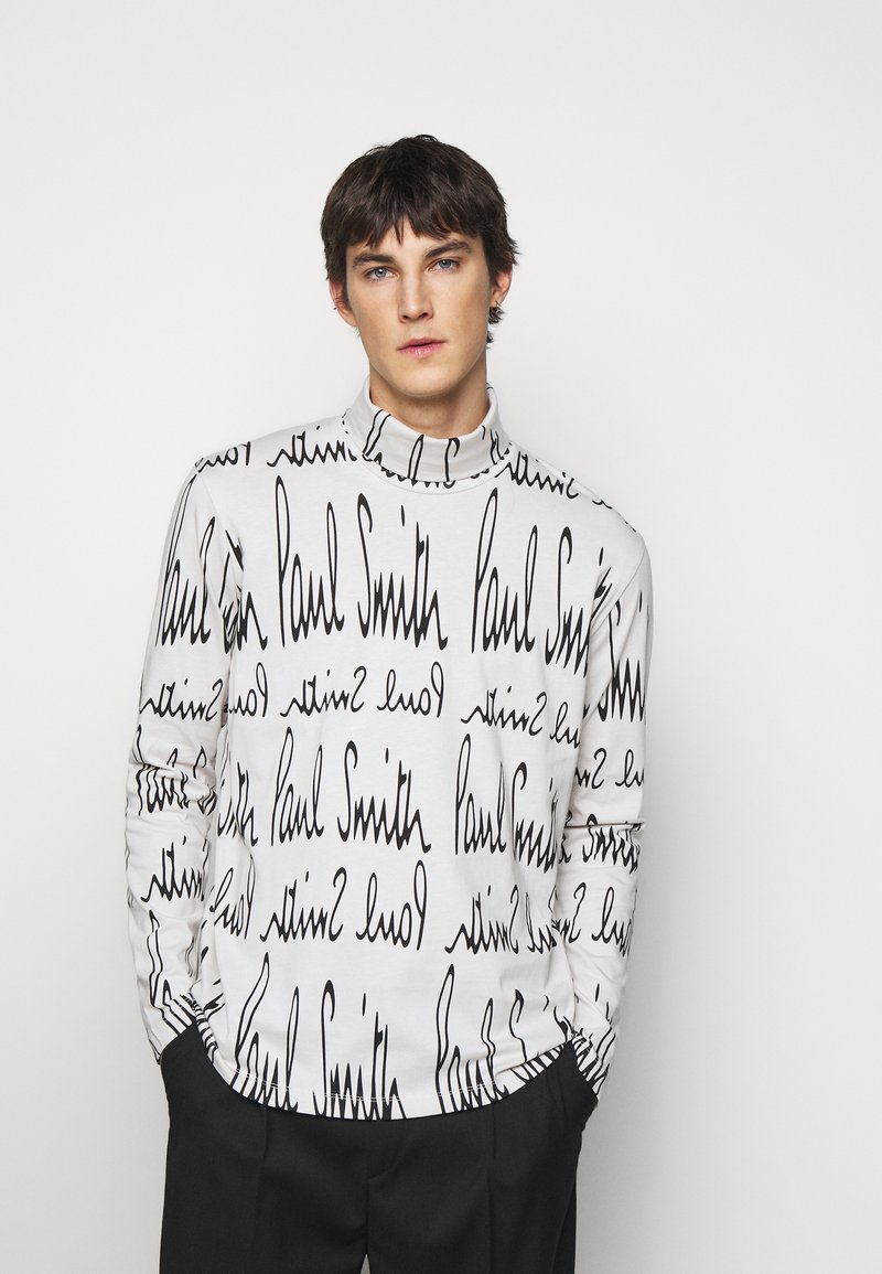 Paul Smith - GENTS ROLL NECK ARCHIVE LOGO PRINT - Long sleeved top - white/black