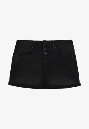 ONLHUSH BUTTON BOX - Denim shorts - black