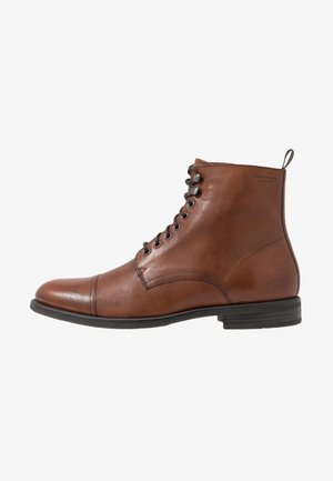 SALVATORE - Lace-up ankle boots - cognac