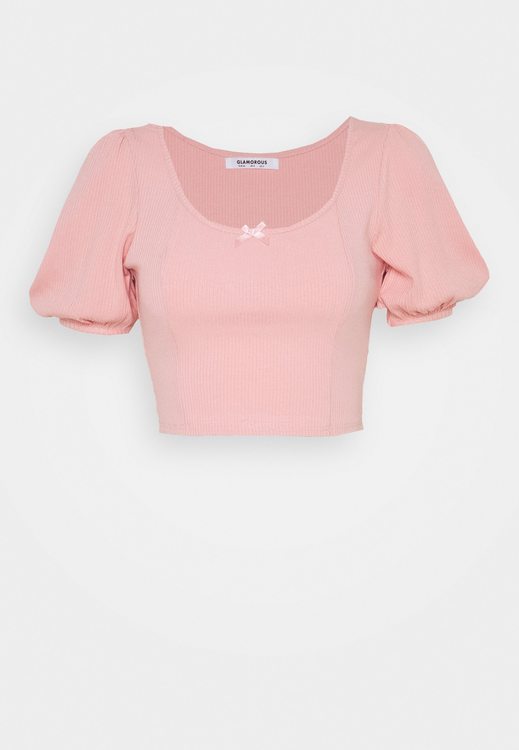 Damen BOW FRONT SCOOP CROP WITH PUFF SHORT SLEEVES - T-Shirt print