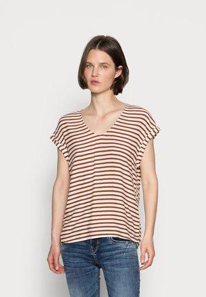 V NECK  - Camiseta estampada - white brown stripe