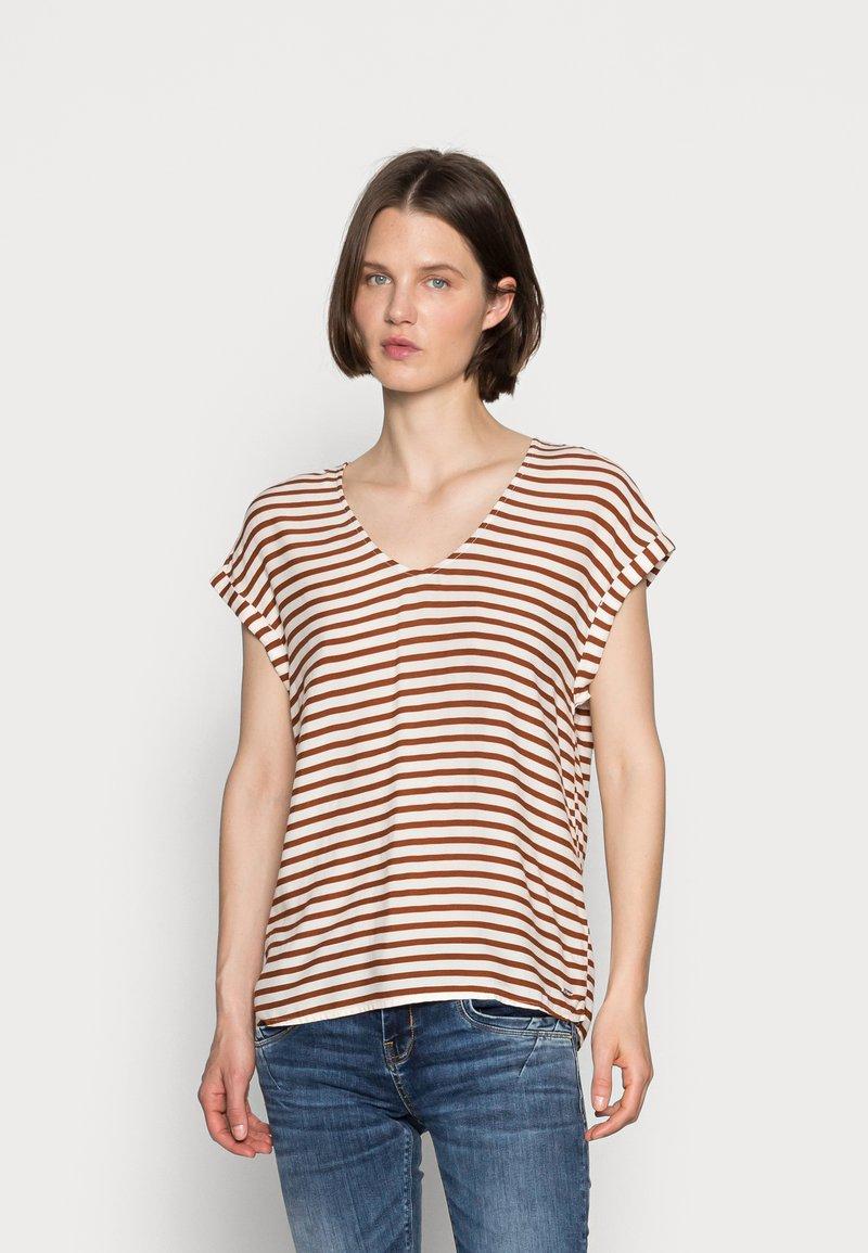 TOM TAILOR DENIM - V NECK  - Print T-shirt - white brown stripe