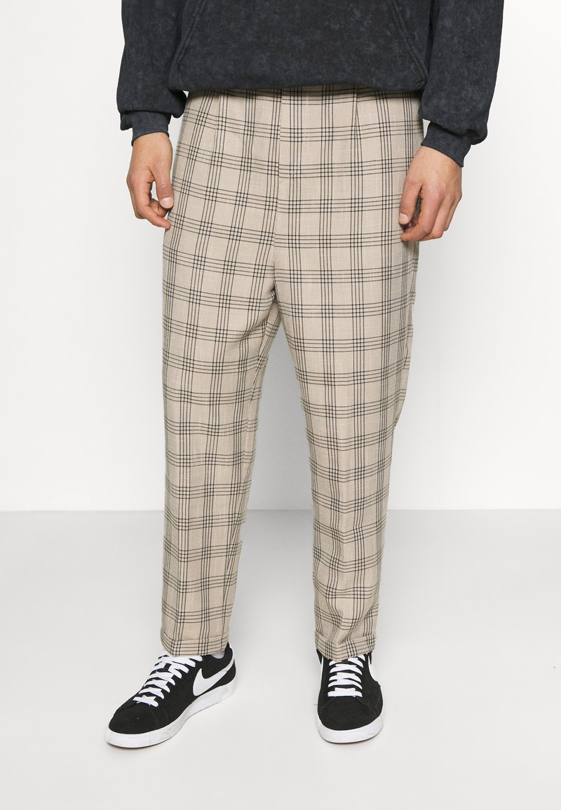 Vintage Supply - CASUAL CHECK TROUSER - Trousers - beige