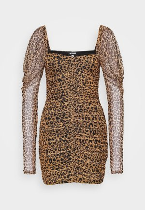 LEOPARD RUCHED MINI DRESS - Day dress - tan