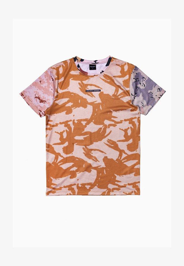 Print T-shirt - pink/brown