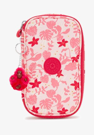 Pencil case - pink leaves