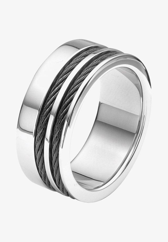 MET ZWARTE KABELS - Ring - zilver