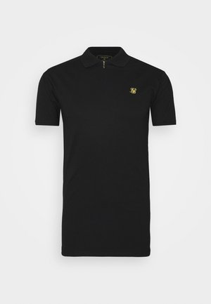 STRETCH FIT ZIP COLLAR - Polo shirt - black