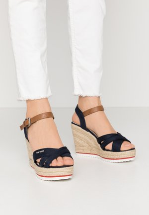 High heeled sandals - navy