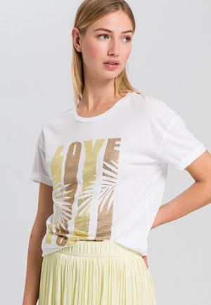 Print T-shirt - white yellow varied