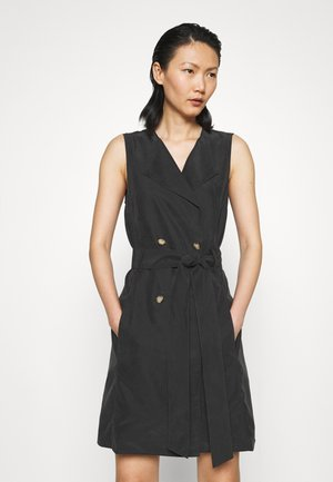 BELTED WRAP MINI DRESS - Blousejurk - black