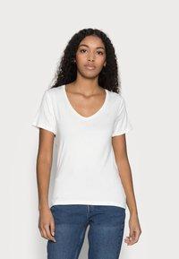 Anna Field Petite - 3 PACK V NECK  - T-shirt basic - black / white / light grey - 4