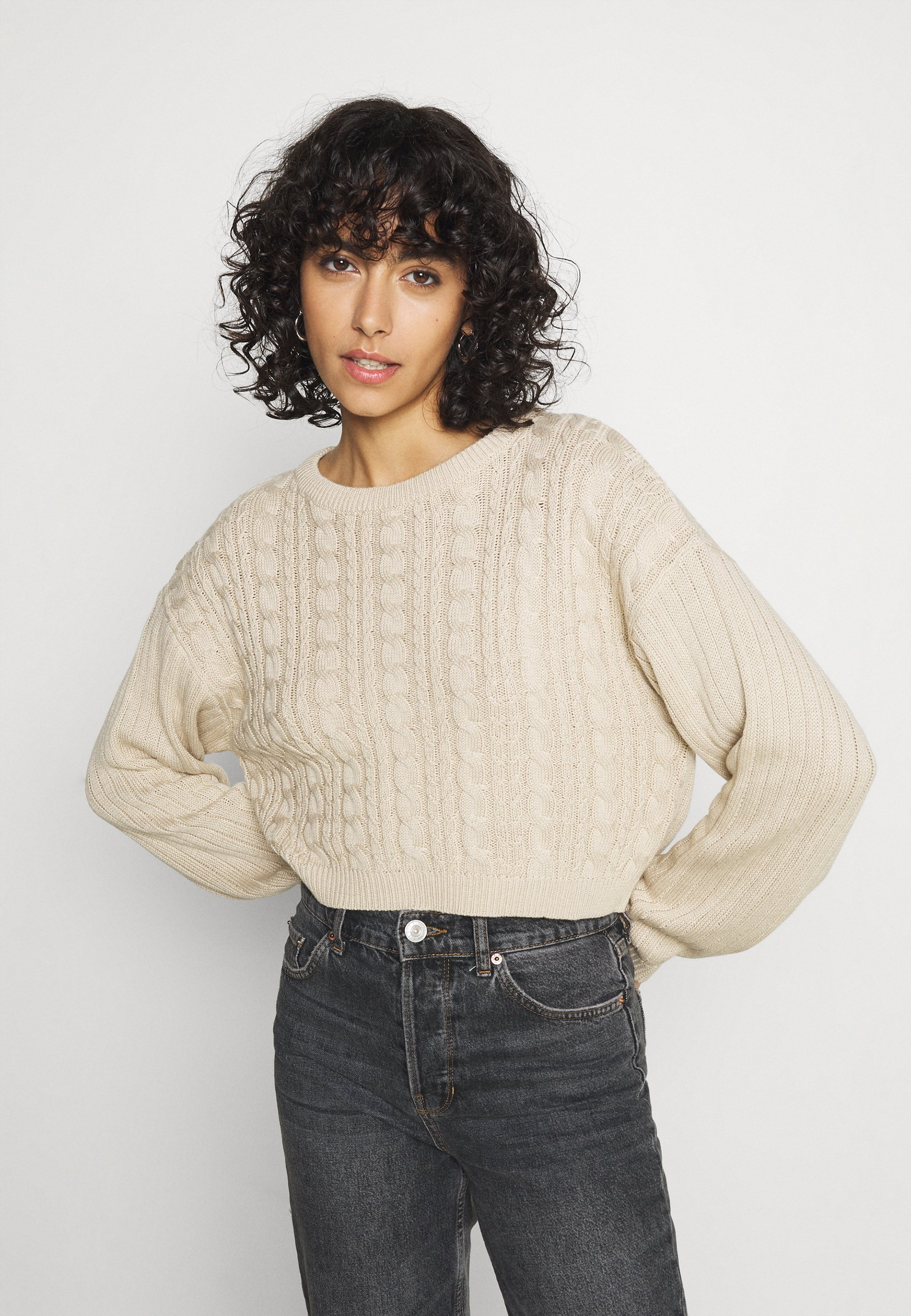 Women CROPPED LOOSE CABLE JUMPER - Jumper