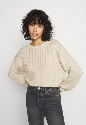 CROPPED LOOSE CABLE JUMPER - Jumper - sand