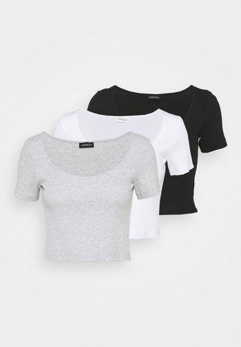 3 PACK - Print T-shirt - mottled light grey /white/black