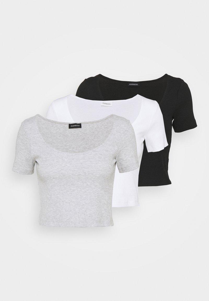 Even&Odd Tall - 3 PACK - T-shirt z nadrukiem - mottled light grey /white/black