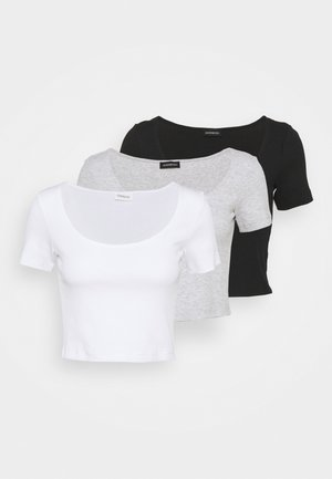 3 PACK - T-shirt con stampa - mottled light grey /white/black