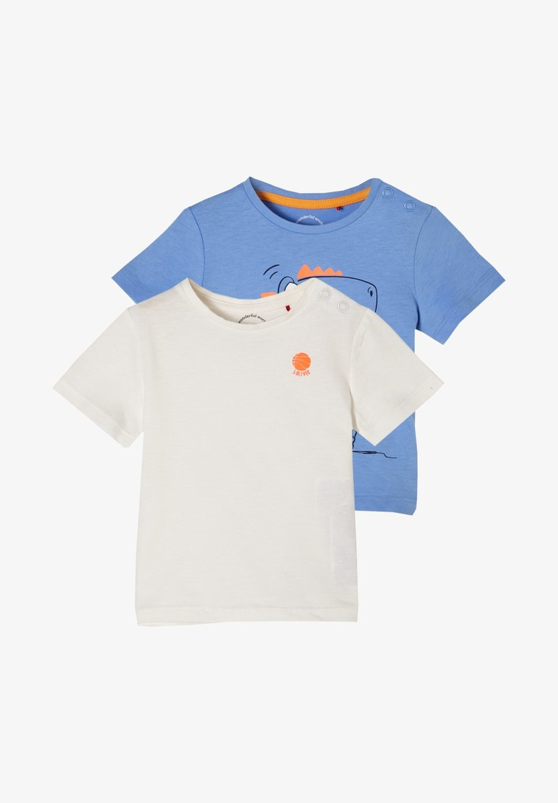 s.Oliver - 2 PACK - Print T-shirt - offwhite/blue placed print