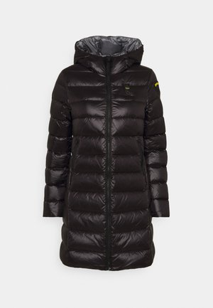 BASIC HOODED LIGHT JACKET LONG  - Down coat - black