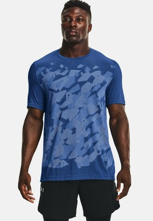 UA SEAMLESS WORDMARK SS - T-shirt med print - dark blue