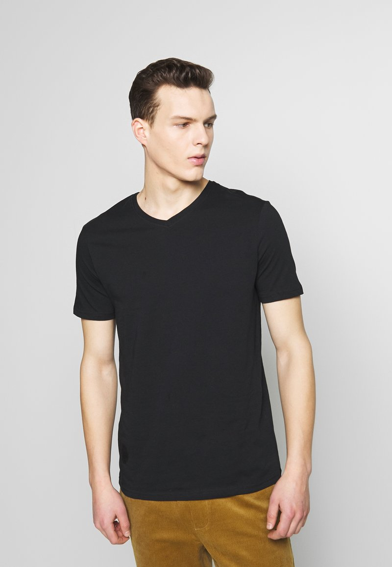 Benetton - BASIC VNECK - T-shirt basic - black